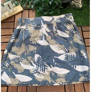 Banana Republic Mini Skirt Camo Linen Cotton Sz 4